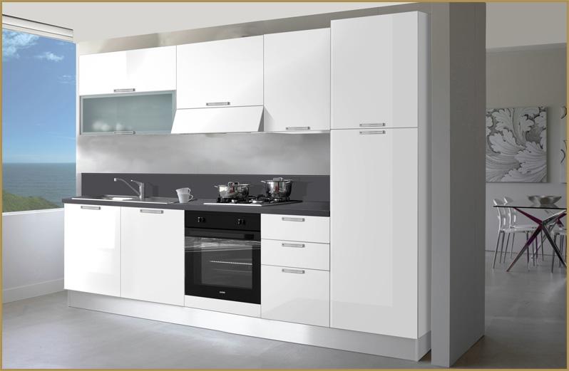 Cucina componibile 2 55 mt completa di elettrodomestici moderna laccata bianca ebay - Cucine componibili usate su ebay ...