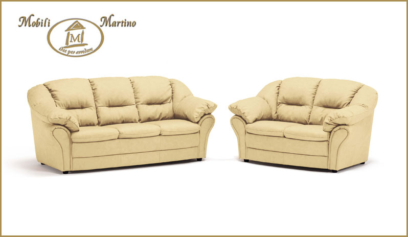 Salotto completo divano 3 2 posti in ecopelle testa di - Divano in pelle o ecopelle ...