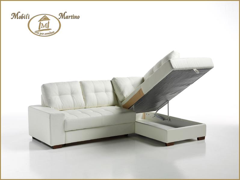 Divano letto angolare moderno in ecopelle angolo salotto soggiorno contenitore 3buzffna casa - Divano letto singolo con contenitore ...