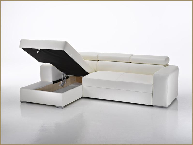 Divano letto angolare moderno in ecopelle salotto for Divano letto con contenitore