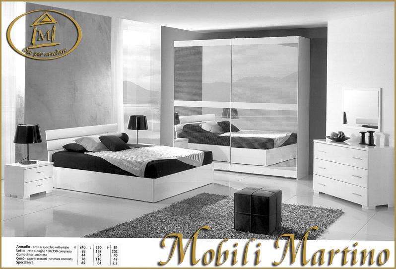 Camera da letto matrimoniale completa moderna, bianca lucida, letto ...