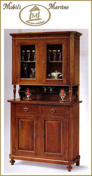 Credenza napoletana arte povera in legno massello, cristalliera ...