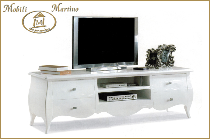 Porta tv laccato lucido bianco moderno mobile televisore classico ...