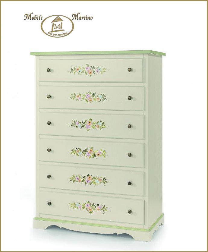 Cassettiera settimino in legno 6 cassetti laccato bianco for Ebay classico