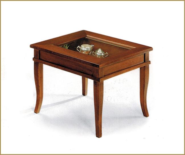 Tavolino a bacheca quadrato arte povera con piano in vetro for Mondo convenienza tavolini da salotto arte povera