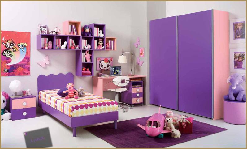 Cameretta per ragazze rosa e viola