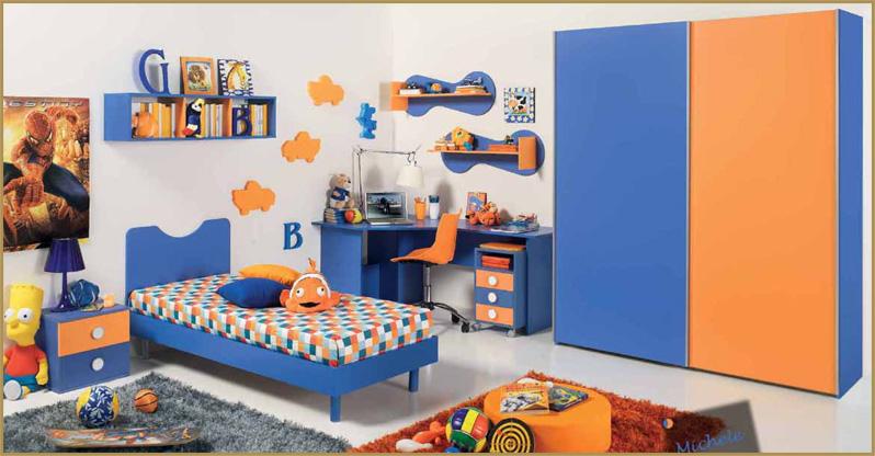 Cameretta completa per ragazzi blu arancio armadio - Foto di camerette per bambini ...