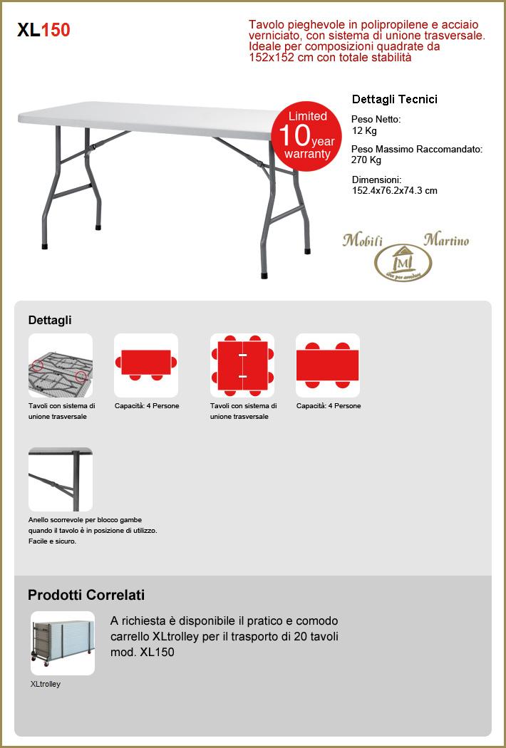 Tavolo pieghevole in polipropilene grigio da esterno in resina